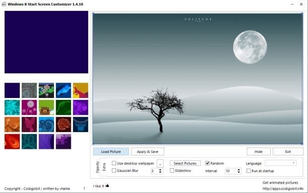 Start screen customizer