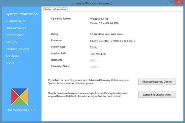 Ultimate Windows Tweaker for Windows 8.1 Picture1