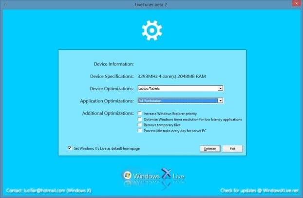 Windows Live Tuner to speed up Windows 7 and Windows 8