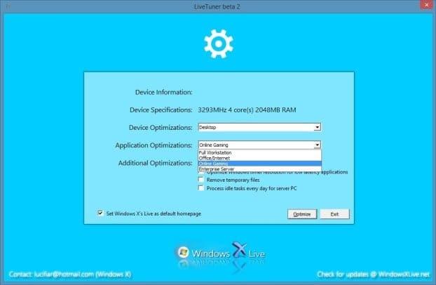 Windows Live Tuner to speed up Windows 8.1 and Windows 7