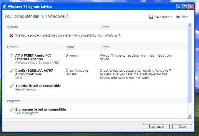 test if your Windows XP PC supports Windows 7 or 8 (1)
