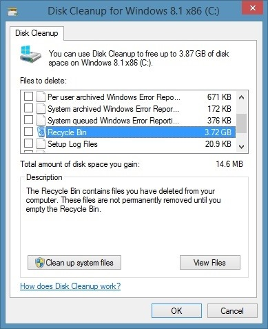 View size of all files in Recycle Bin step1