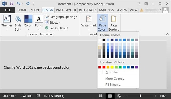 Change page background color in Office Word 2013 and 2010