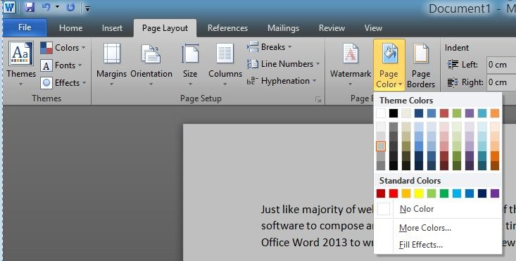 How To Change Page Background Color In Word 2016 2013