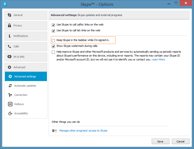 Minimize Skype icon to system tray in Windows