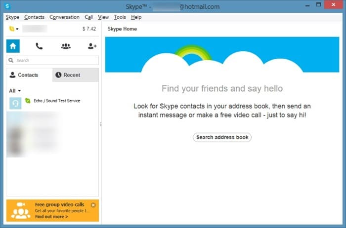 Minimize Skype to system tray notification area