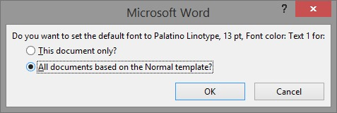 How to change default font and font size in word 2016 2013 for Change the normal template in word 2010
