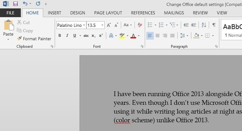 changing the default font in word 2016