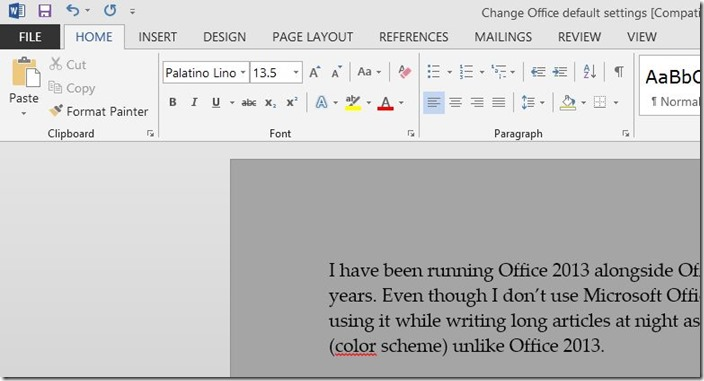 Change Word 2013 default font and font size