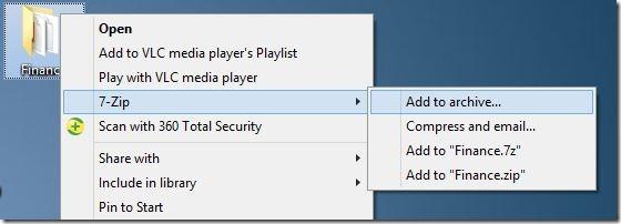 Create zip file with password in Windows 7 Windows 8 Step1