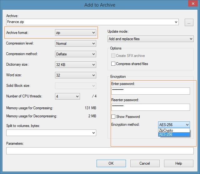Create zip file with password in Windows 7 Windows 8 Step2