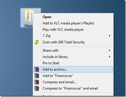 Create zip file with password in Windows 7 Windows 8 Step4