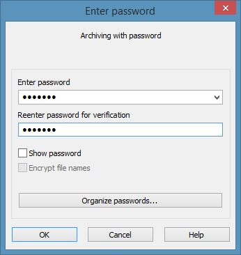 Create zip file with password in Windows 7 Windows 8 Step6