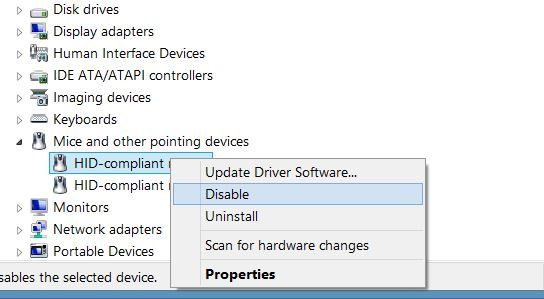 Disable touchpad in Windows step4