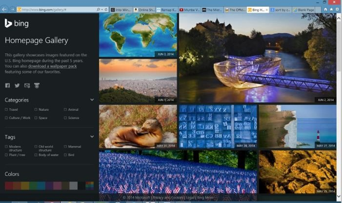 High resolution Bing home page