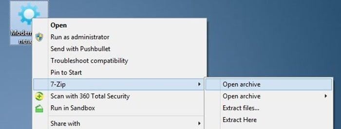 Remove 7-zip from context menu in Windows