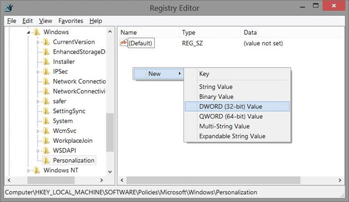 Remove Windows 8.1 lock screen using Registry Step3