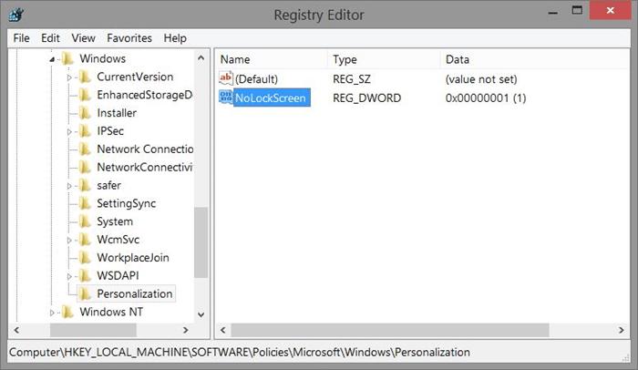 Remove Windows 8.1 lock screen using Registry Step4