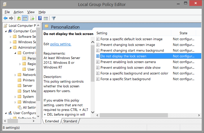 Remove Windows 8.1 lock screen using Registry Step6