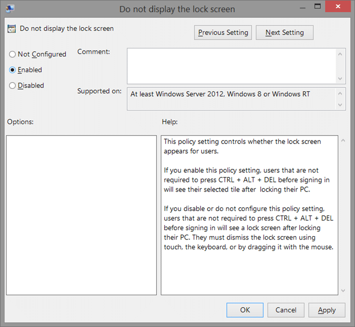 Remove Windows 8.1 lock screen using Registry Step7