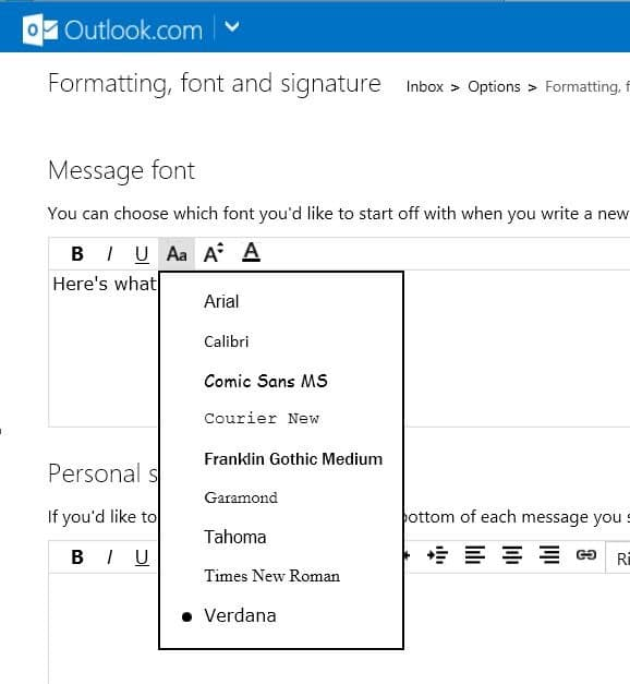 how to change default font and font color in outlook com