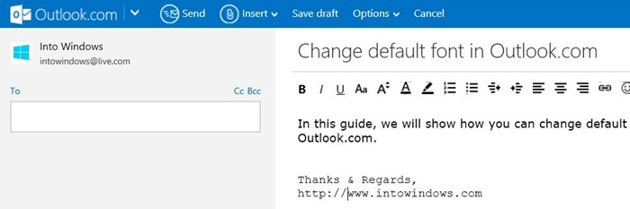 Gmail Spam Settings >> How To Change Default Font and Font Color In Outlook.Com