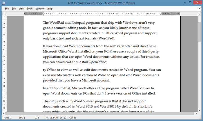 Word Viewer to open Word files