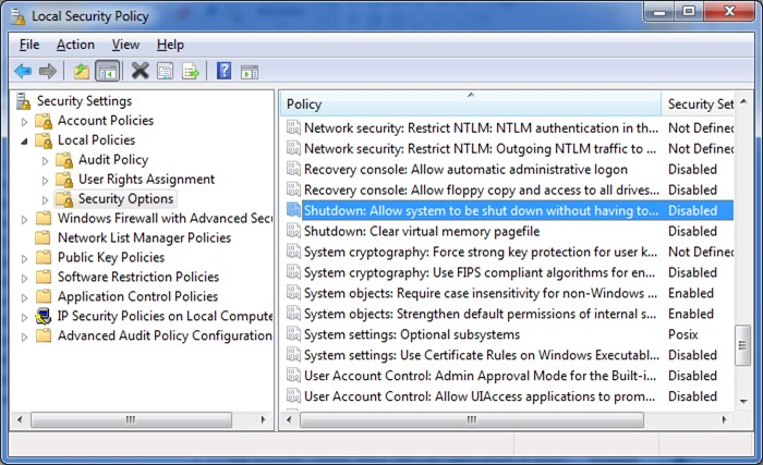 fix shut down button is missing from logon screen Windows 7 step2