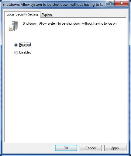 fix shut down button is missing from logon screen Windows 7 step4