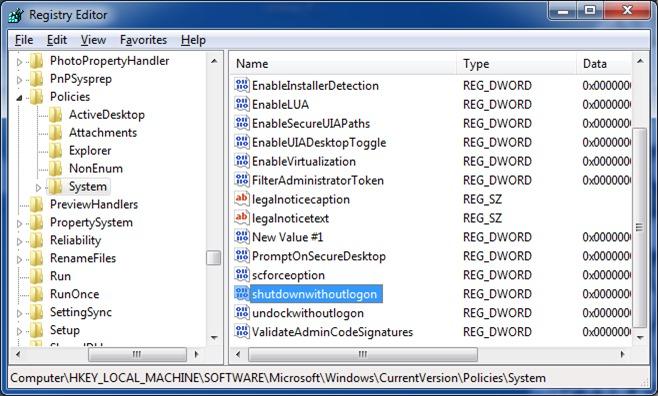 fix shut down button is missing from logon screen Windows 7 step6