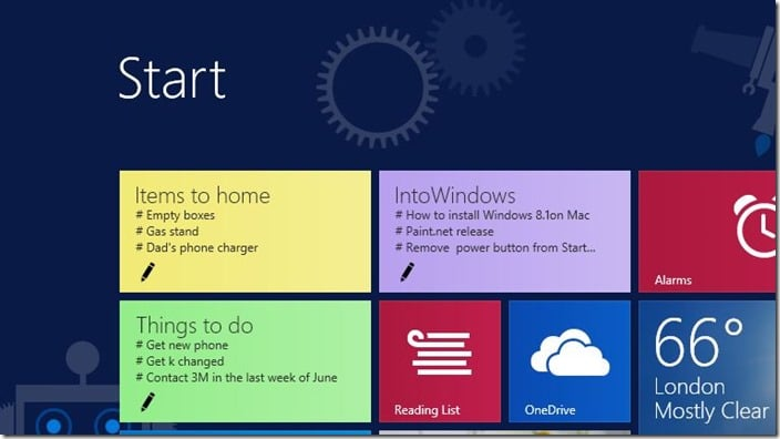 sticky tiles for Windos start screen best to do list app