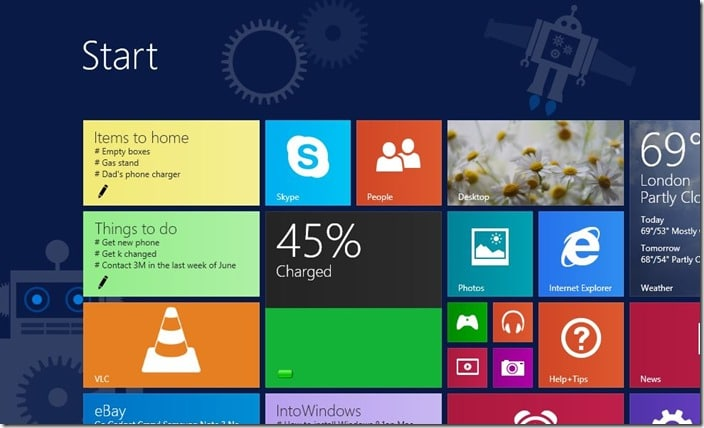 Battery Level for Start screen Windows 8.1