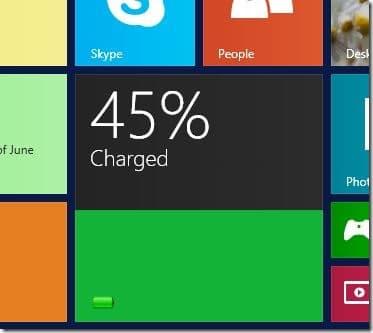 Battery Level tile for Start screen Windows 8.1