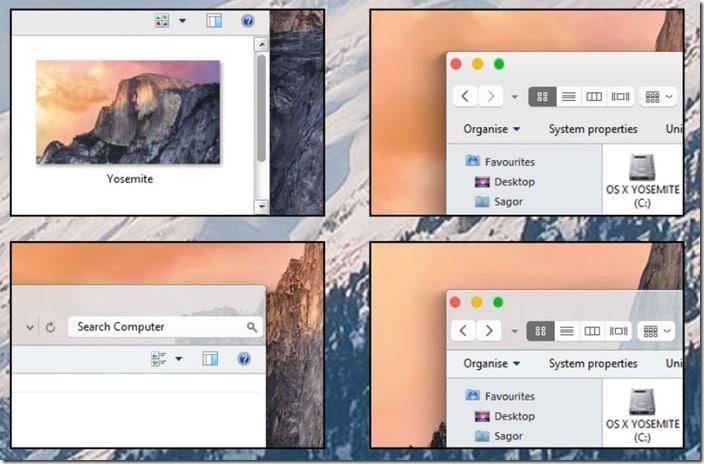 OS X Yosemite theme visual style for Windows 7 Windows 8.1