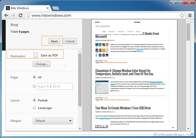 Save webpage as PDF in Chrome step4
