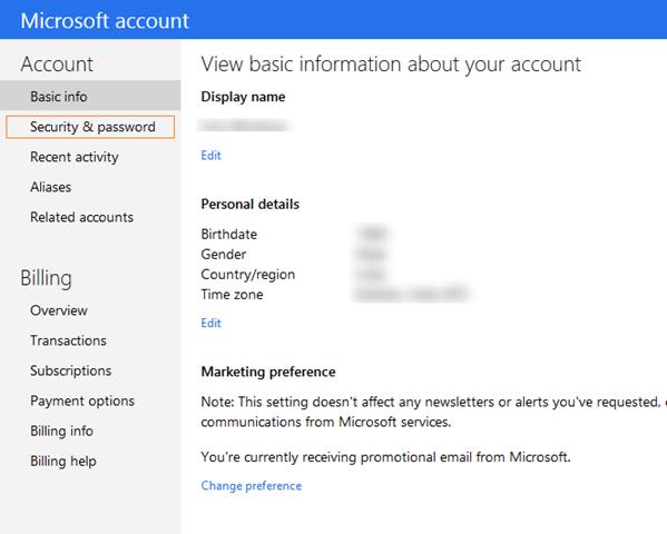 Close Outlook.com account step2