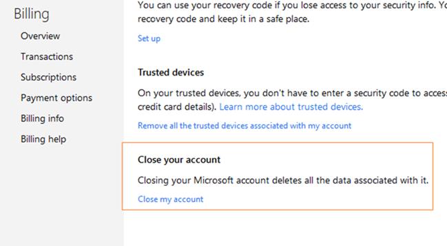 Close Microsoft outlook.com account step5