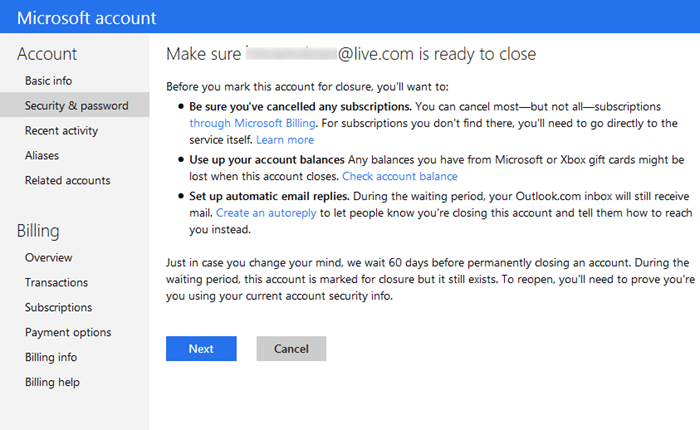 Close Microsoft outlook hotmail account step6