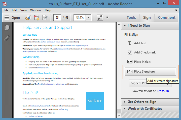 How to use adobe reader to electronically sign e for Sign documents adobe pdf