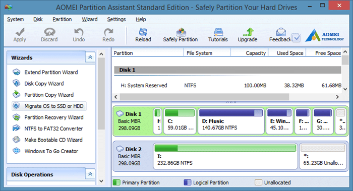 Migrate Windows 8 to SSD using Partition Assistant step1