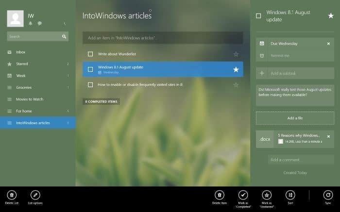 Wunderlist app for Windows 8 8.1 picture1