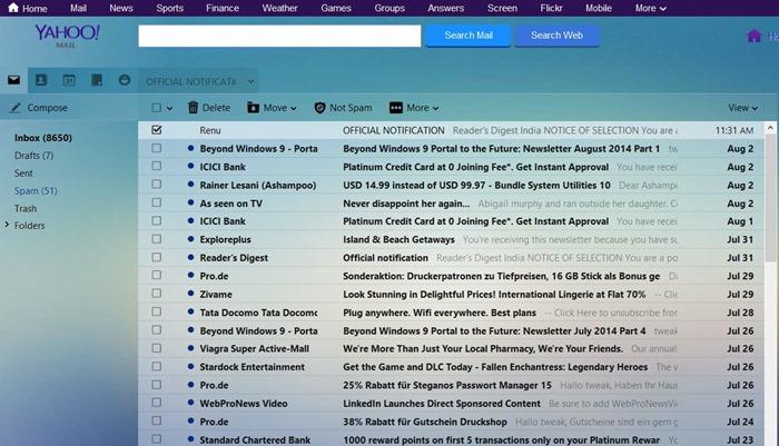Yahoo Mail customization