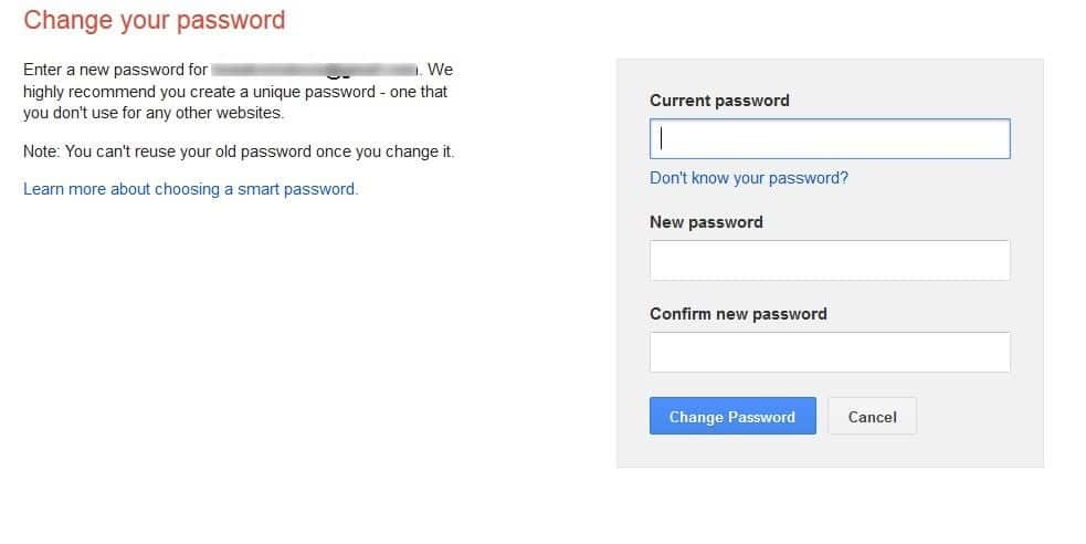 how to change google password for gmail