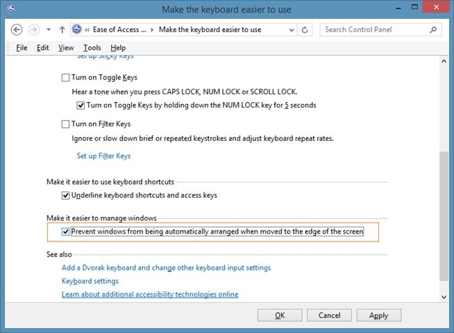 Disable Snap view in Windows 7 or Windows 8 picture4