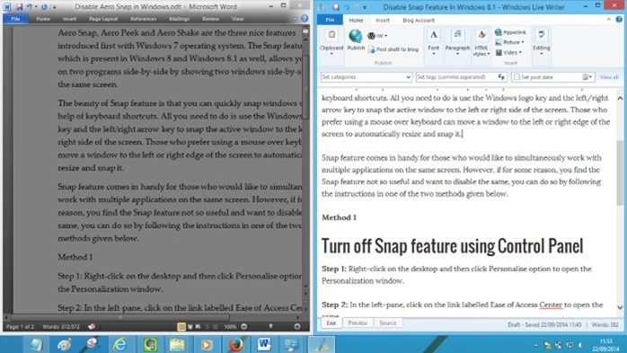 Disable Snap view in Windows 7 or Windows 8