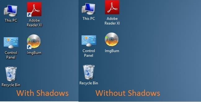 Enable or disable shadows for texts on desktop in windows for 2 window in 1 pc