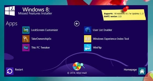 Missed Features Installer for Windows 8