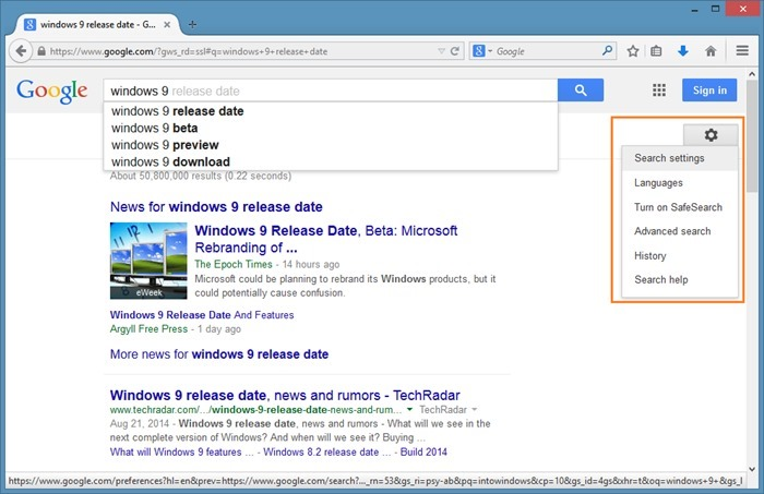 Open Google search results in new tab page step1