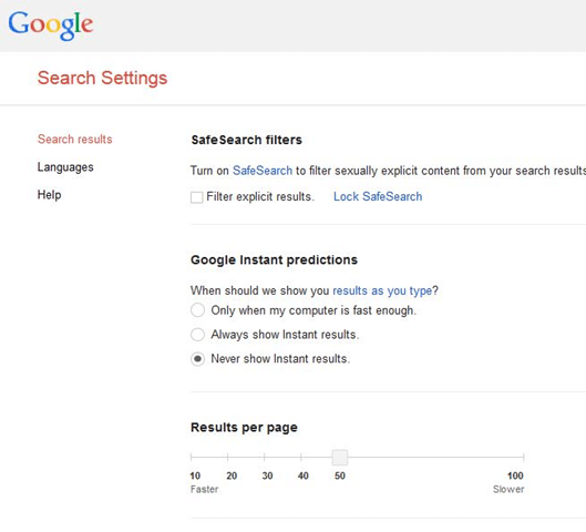 Show more results per page in Google step2