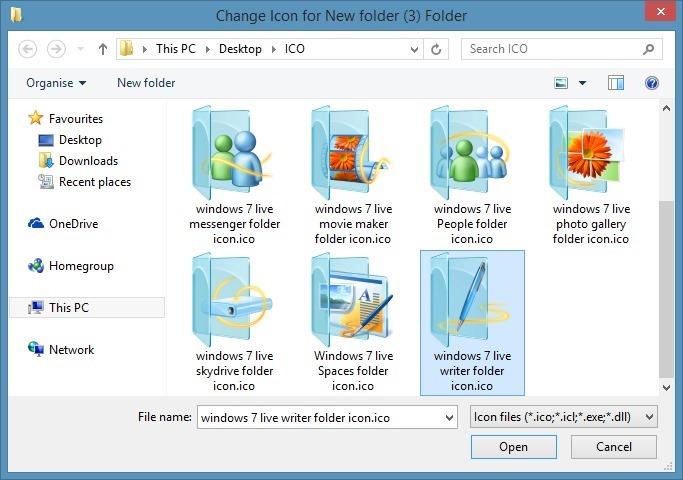 change folder icon in Windows 7 or Windows 8 step4
